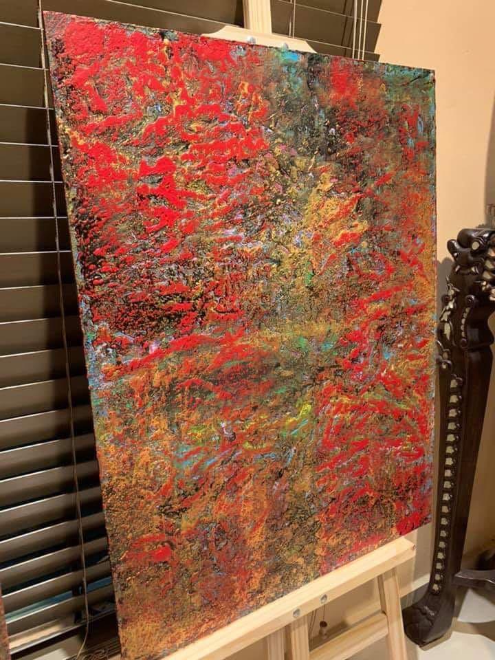 "Original Art Acrylic Wood Painting ""Treasure Series: Treasure Island"""