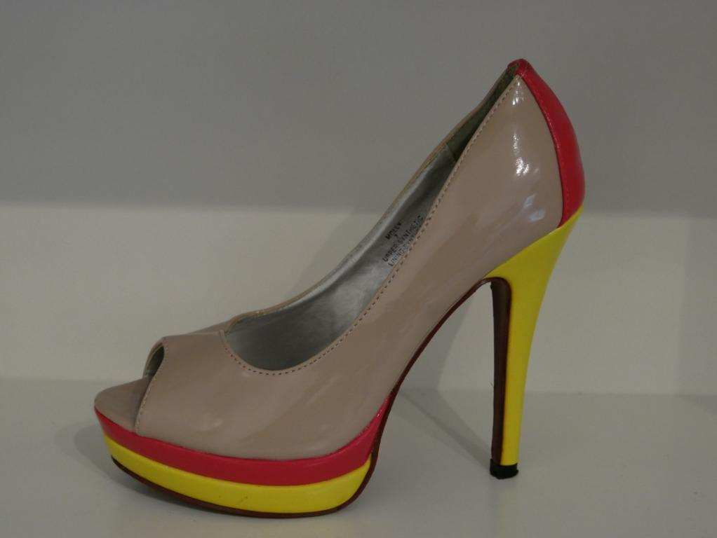 Patented Nude Pump with Neon Pink and Yellow Size 7