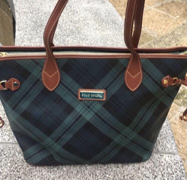 Polo 復古緑格紋tote bag 👍🏼😁約9成新,🈹️愛。SF 到付。
