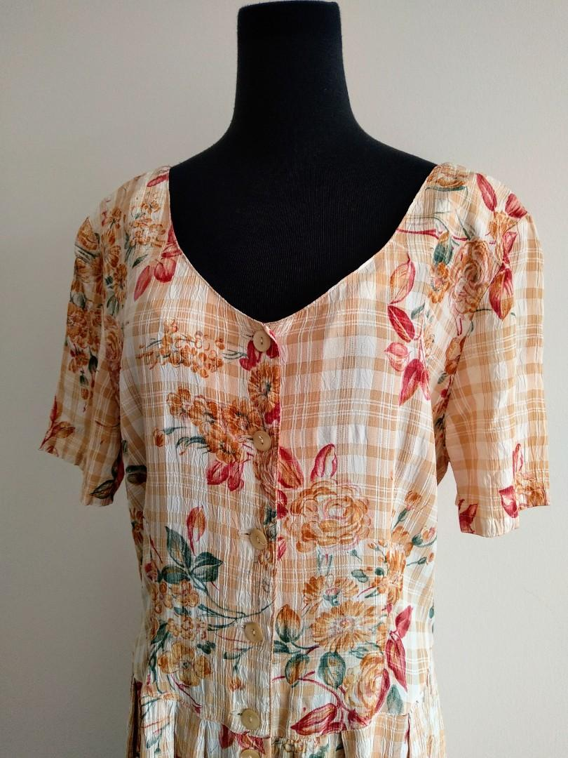 Retro vintage style Orange boho cut out summer dress AU 12 14