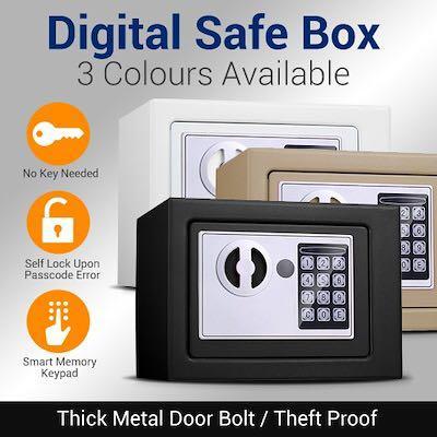 Small digital safe deposit box use keypad and key lock black white brown colour
