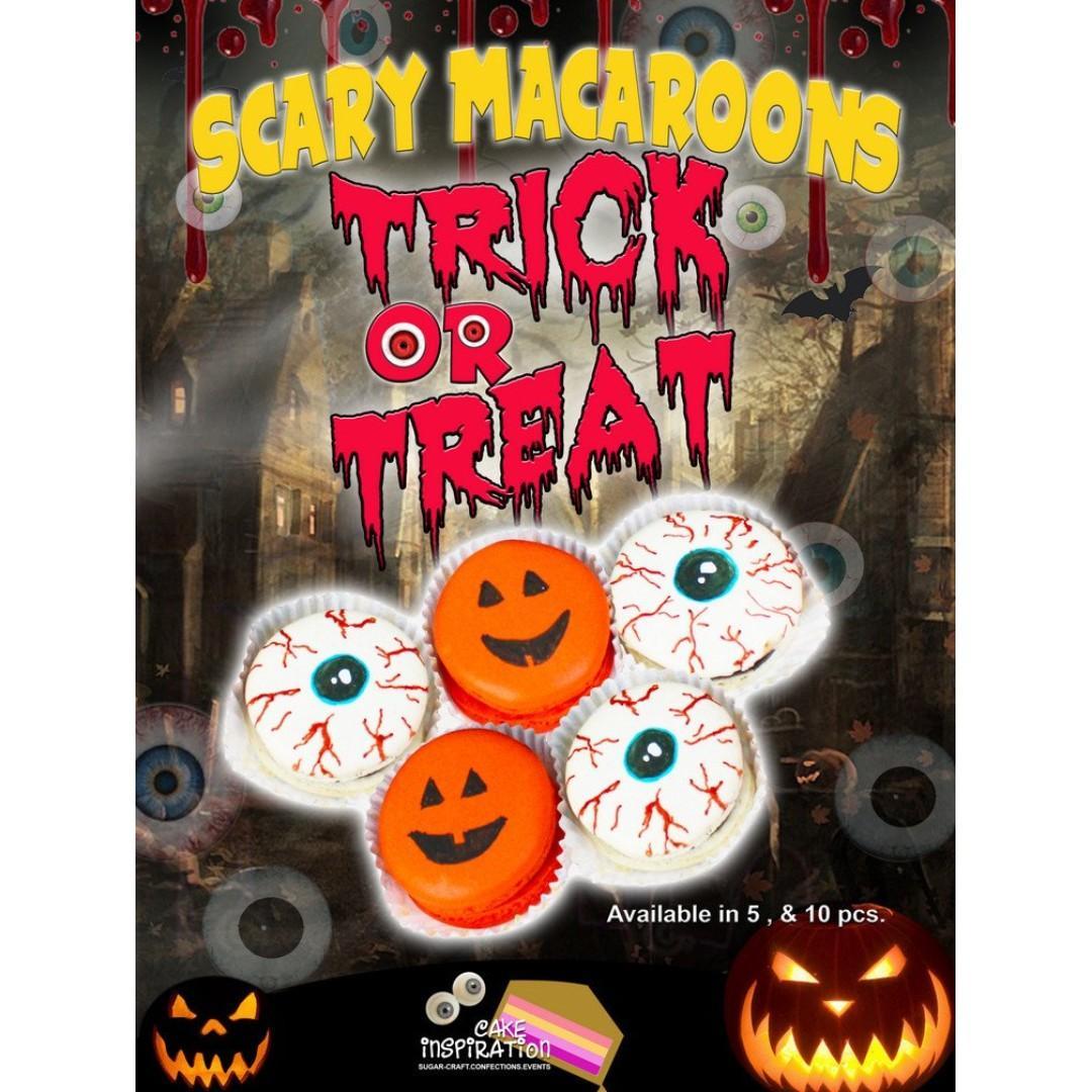 SCARY Macaron Gift set ( Eyeballs and Pumpkin design )