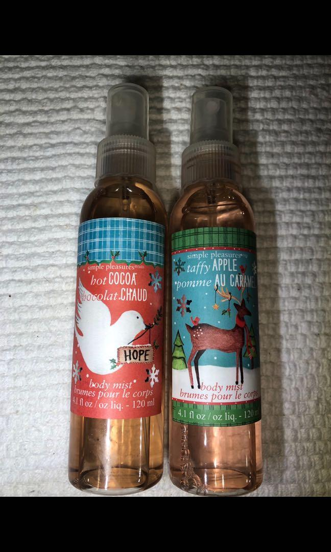 "Simple pleasures body mist ""hot cocoa"" and ""taffy butter"" brand new"