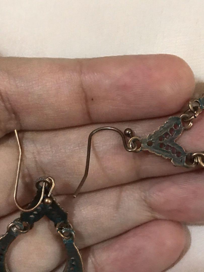 🆕Rose Gold & blue Oxidised delicate earrings