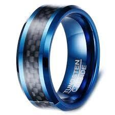 Tungsten carbide blue black men / women ring