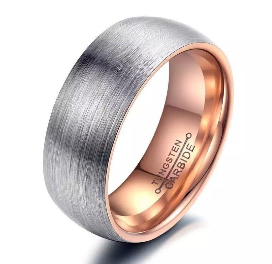 Tungsten carbide matte silver rose gold men / women ring