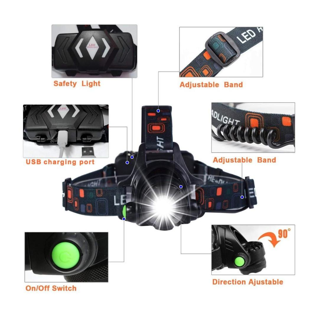 U5589 Head Torch, Zoomable Waterproof USB Rechargeable Head Torches, 90 Degree Angle Adjustable Led Headlamp, 3 Modes Light Weight Led Torch for Camping, Running, Hiking, Kids, Walkers Head light