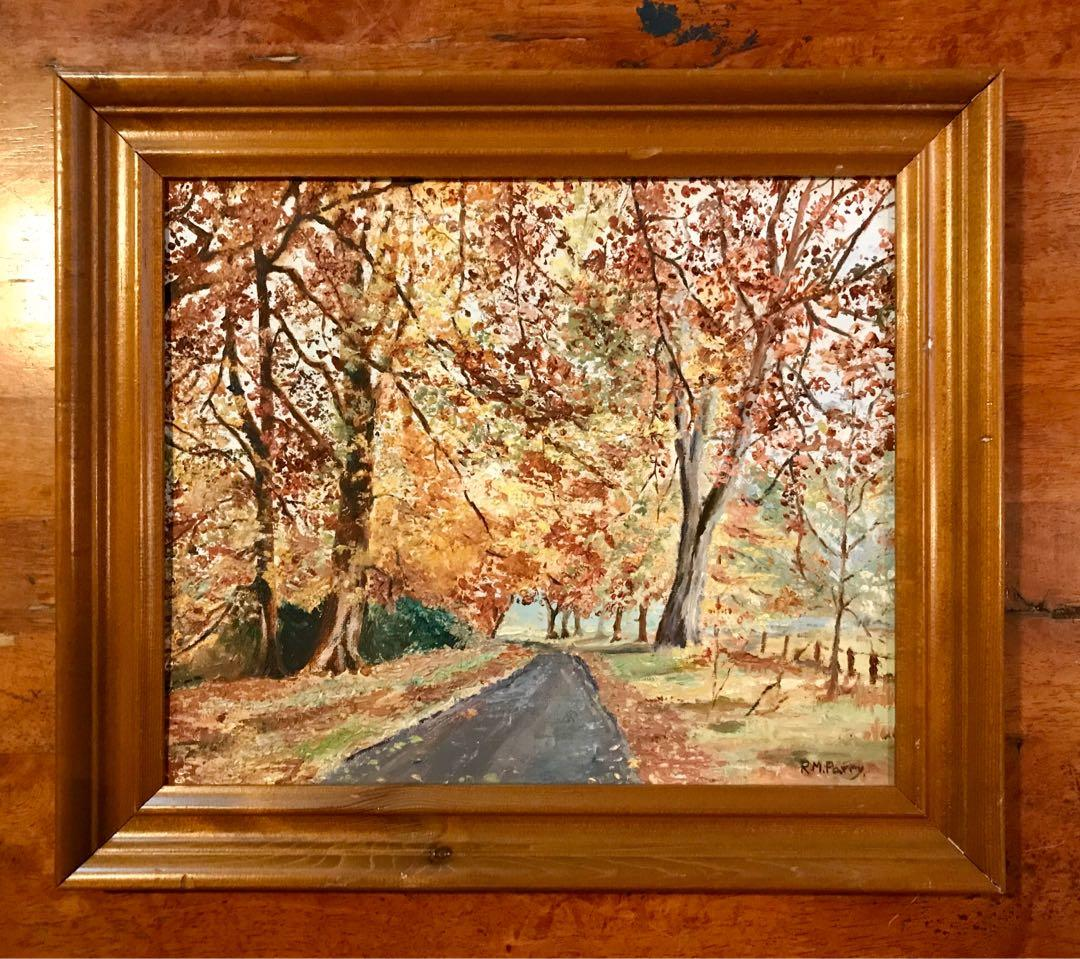 Vintage Cherry Blossom Oil Painting by RM.Parry Framed