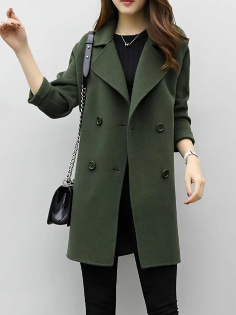 Women's Lapel Double Breasted Coat Army Green (NP:RM209)