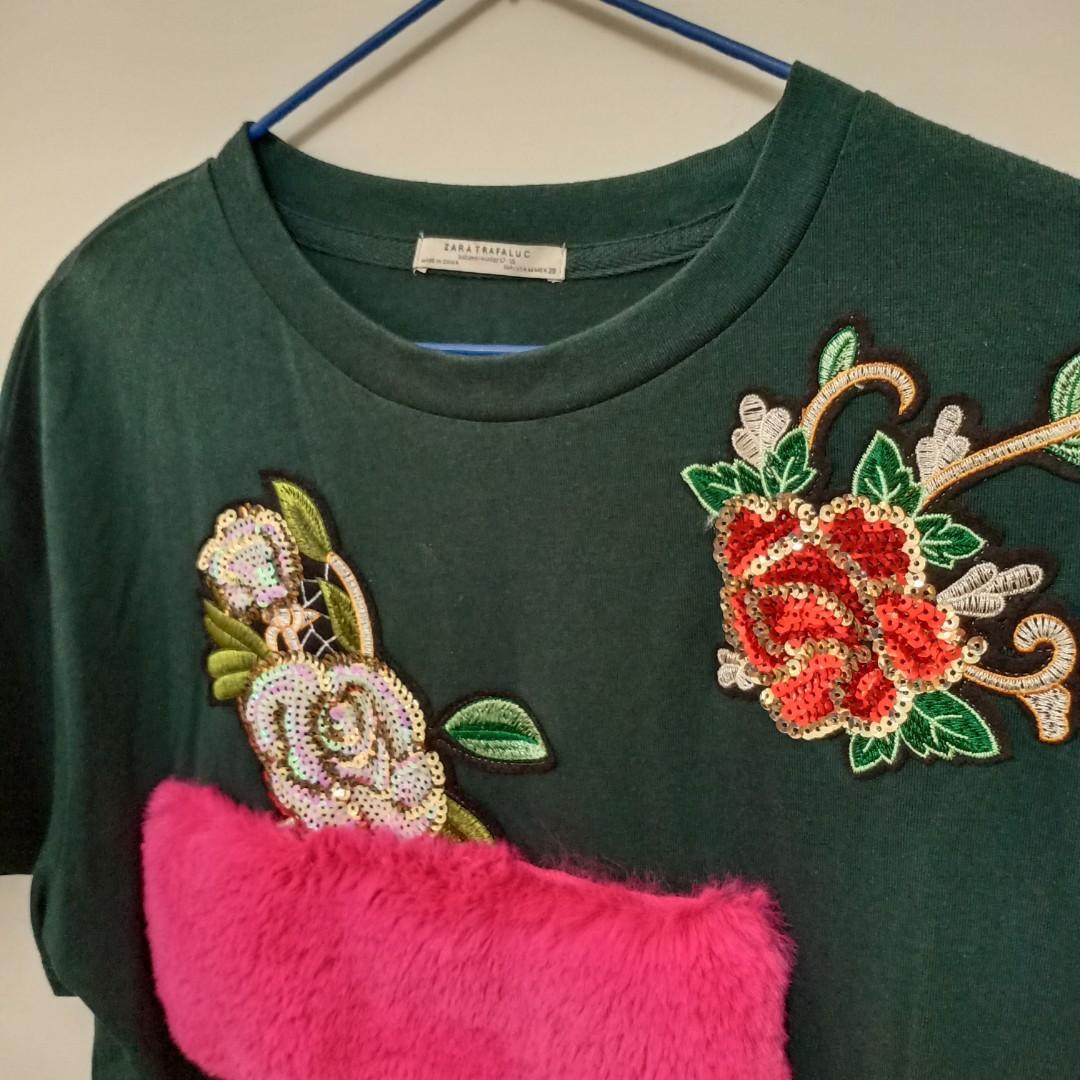 Zara花刺繡絨毛T恤(深綠)