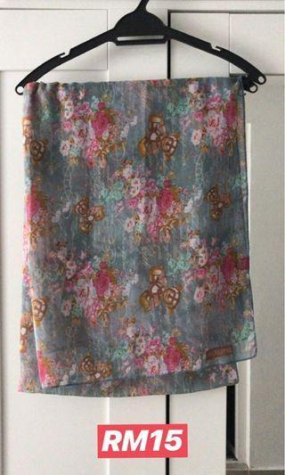 Aidijuma Printed Shawl (Code: Flower Blue)