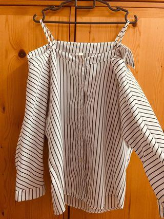 Women's Off Shoulder Stripe Top