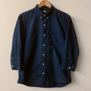 GU 深藍 七分袖襯衫 *二手*