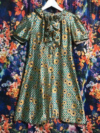 古著 vintage 復古 洋裝 歐式滑面 洋裝