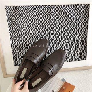 全新 秋季新款 可踩腳 氣質滿滿的淺口咖啡色樂福鞋