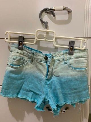 CACO SURF 美式休閒 漸層水洗破鬚短褲(女) s 淺藍