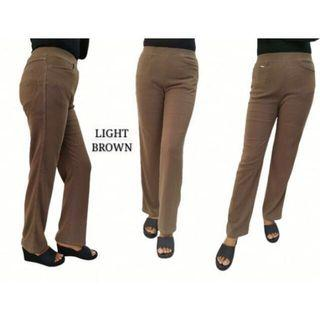 Office Straight Cut Long Slack Pants ( Light Brown )