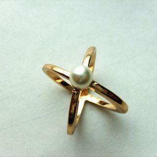 全新 歐美幾何線條造型珍珠戒指 基本百搭款