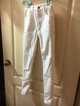全新白長褲