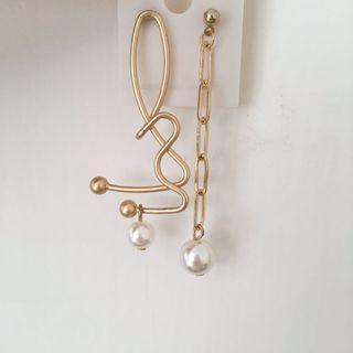 歐美簡約線條彎曲鏈條珍珠耳環