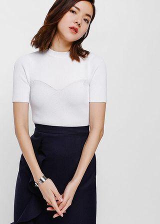 Size M: Love Bonito Tanina Knit Crop Top in white