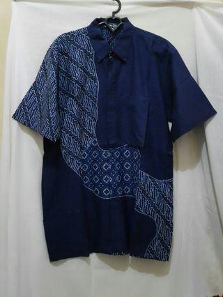 Kemeja Batik Pria biru size L #1010flazz