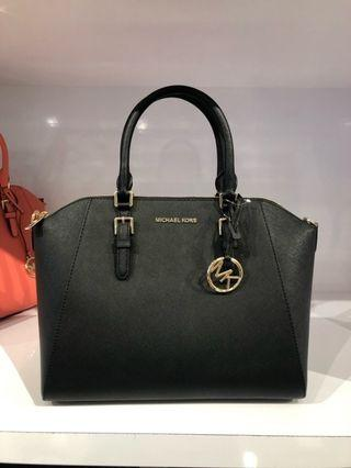 MICHAEL KORS CIARA LARGE EW TZ LEATHER SATCHEL IN BLACK