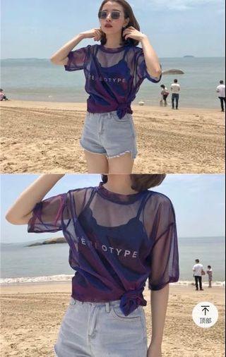 鐳射透紗上衣 紫 保留