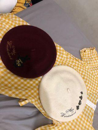 日系 貝蕾帽 貝雷帽 酒紅 白