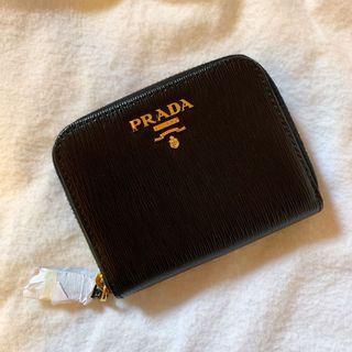 正版 Prada 黑色壓紋零錢包 全新