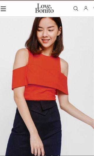 Size S:  Love Bonito Lauren Cut Out Shoulder Layered Top