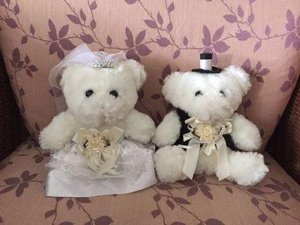 WEDDING CAR DECORATION BRIDE AND GROOM TEDDY BEAR