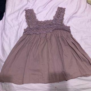 正韓 氣質 藕粉色 寬帶蕾絲散裝背心