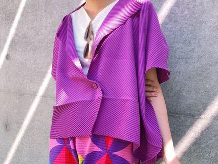 三宅一生 lssey miyake  限定紫色斜角A-POC縐褶外套