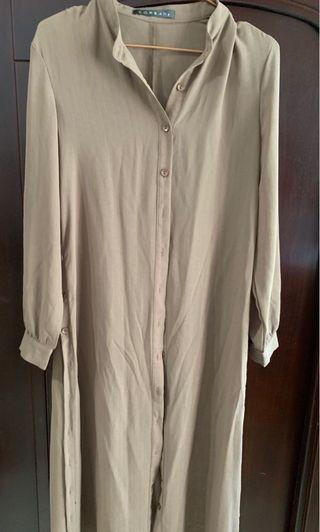 多種穿法 無領咖啡棕襯衫/罩衫  #五折清衣櫃