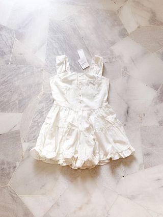 Cream White Flare Romper / Jumpsuit #Lelong80