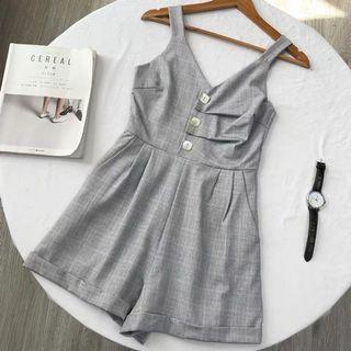 Grey Checkered Romper / Jumpsuit #Lelong80