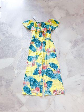 Yellow Floral Off Shoulder Jumpsuit / Romper (Ready stocks sold out, pre order available)