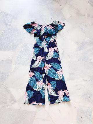 Blue Floral Off Shoulder Jumpsuit / Romper (Ready stocks sold out, pre order available )