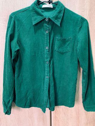 二手服飾-質感直條絨布襯衫(綠)