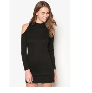 Zalora Black cold shoulder bodycon dress