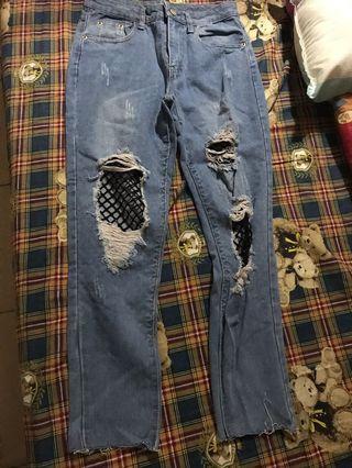 全新 淺藍色造型刷破網狀男友褲 破褲