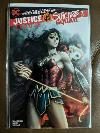 Set of 3 exclusive comic store Artgerm covers to JL vs Suicide Squad #1