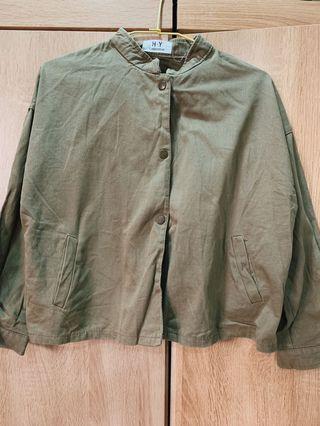 二手服飾-文青無領襯衫(褐綠色)