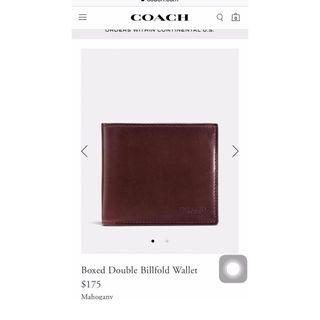 Coach水牛皮男皮夾-Boxed Double Billfold Wallet