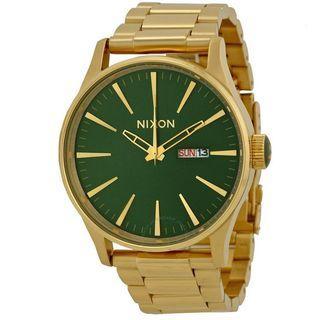 Nixon Sentry Chronograph Green Dial Gold Tone Watch A356-1919