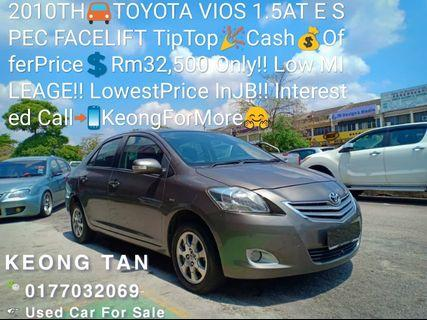 2010TH🚘TOYOTA VIOS 1.5AT E SPEC FACELIFT TipTop🎉Cash💰OfferPrice💲Rm32,500 Only‼Low MILEAGE‼LowestPrice InJB‼Interested Call📲KeongForMore🤗