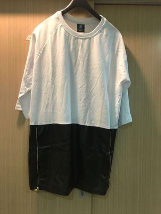 歐美長版上衣拼接皮革上衣XL側邊拉鍊設計上衣五分袖上衣oversize
