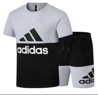 🍀Adidas男款 套裝 愛迪達 運動短套 短袖t恤+五分褲 休閒運動短套🍀$1180 🍀#顏色:灰黑色,紅黑色,白黑色🍀 🍀#尺寸:L. XL. 2XL. 3XL. 4XL. 5XL🍀
