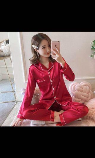 (INC POS) Wine Red Satin Pyjamas